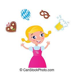 ikony, dziewczyna, octoberfest:, kuglarski, bawarka, różowy strój