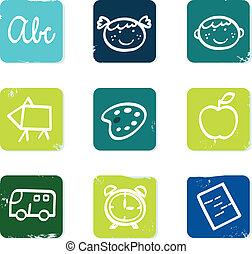 ikony, elementy, doodle, odizolowany, komplet, wstecz, &, szkoła, biały