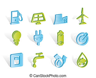 ikony, energia, moc, ekologia