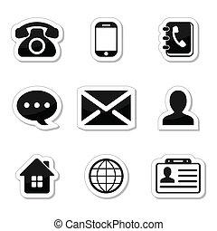 ikony, etykiety, komplet, kontakt