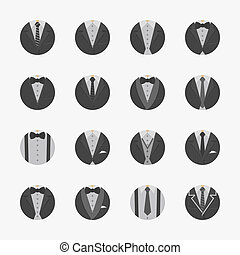 ikony, garnitur, biznesmen