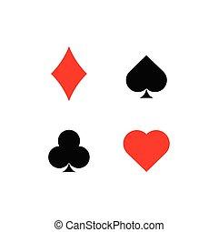 ikony, garnitur, karta grająca
