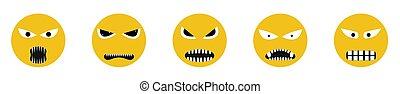 ikony, gniewny, uśmiech, twarz