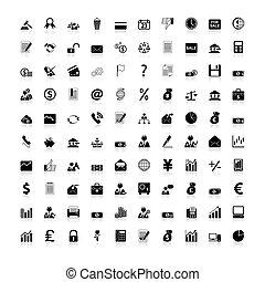 ikony, handlowy, finanse, biuro, &