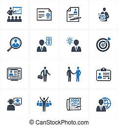 ikony, handlowy, zatrudnienie