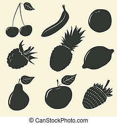 ikony, -, ilustracja, wektor, owoce, jagody