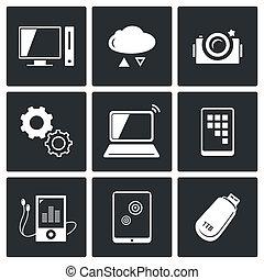 ikony, informacja, zamiana, komplet, technologia