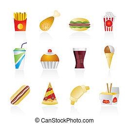 ikony, jadło, mocny, napój