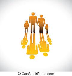 ikony, kolor, ludzie, pomarańcza, ilustracja, ojciec, córka, rodzina, syn, graficzny, symbols-, cztery, odbicie, &, macierz