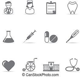 ikony, kolor, -, medyczny, jednorazowy