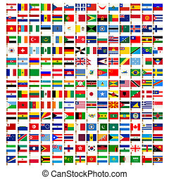 ikony, komplet, świat, bandera