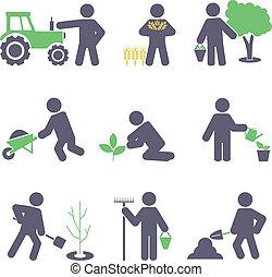 ikony, komplet, agriculture.