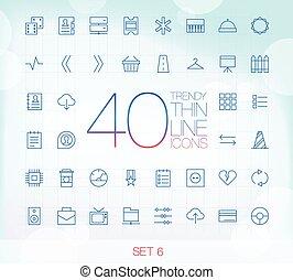 ikony, komplet, cienki, 40, 6