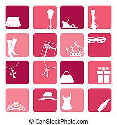 ikony, komplet, dziewczyny, fason