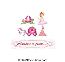 ikony, komplet, księżna, ręka, pociągnięty