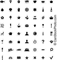 ikony, komplet, mapa, restauracja