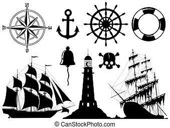 ikony, komplet, morski