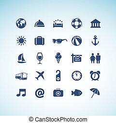 ikony, komplet, podróż