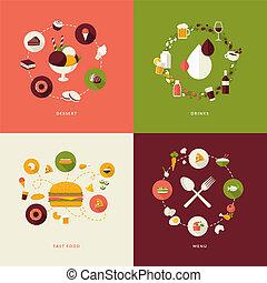 ikony, komplet, restauracja, płaski