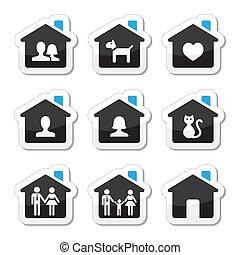 ikony, komplet, rodzina, wektor, dom