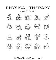 ikony, komplet, terapia, kreska, fizyczny