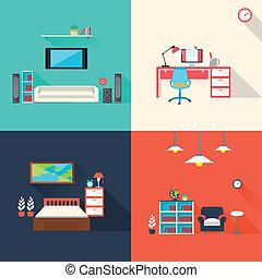 ikony, komplet, twórczy, meble, projektować, płaski