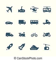 ikony, komplet, wektor, bok, przewóz, prospekt