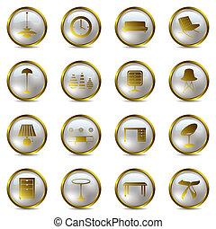 ikony, komplet, złoty, wewnętrzny