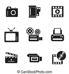 ikony, komputer, photo-video