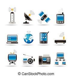 ikony, komunikacja, technologia