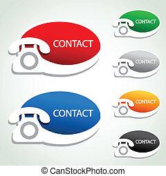 ikony, -, kontakt, telefon, wektor, majchry