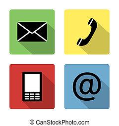 ikony, koperta, ruchomy, telefon, -, kontakt, poczta, buttonsset