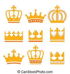 ikony, korona, złoty, komplet, rodzina, królewski