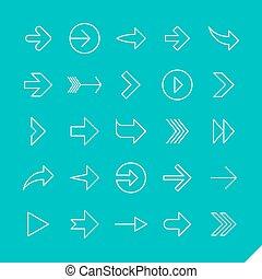 ikony, linearny, strzały, komplet, cienki
