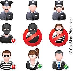 ikony, ludzie, bezpieczeństwo, -