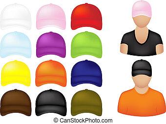 ikony, ludzie, czapki