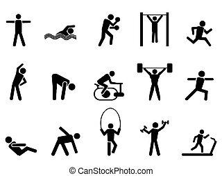 ikony, ludzie, czarnoskóry, komplet, stosowność