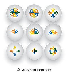 ikony, ludzie, jedność, wektor, współposiadanie, interpretacja, dzieci, szczęśliwy