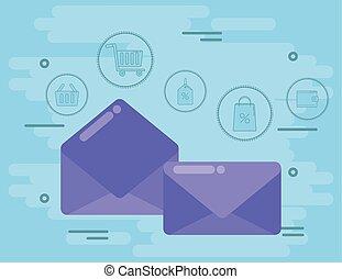 ikony, media, towarzyski, koperty, handel, poczta