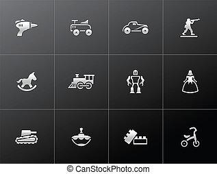 ikony, -, metaliczny, zabawki