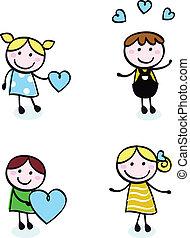 ikony, miłość, doodle, retro, odizolowany, dzieciaki, oczko, biały