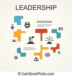 ikony, motywacja, teamwork, template., komunikacja, przewodnictwo, infographic, prosty, kreska, odpowiedzialność, 10