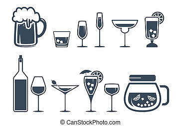 ikony, napój, alkohol, komplet, napój
