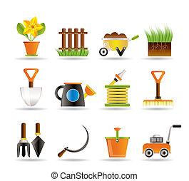 ikony, narzędzia, ogrodnictwo, ogród
