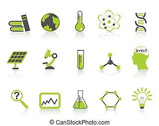 ikony, nauka, komplet, seria, zielony, prosty