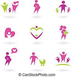 ikony, -, odizolowany, zdrowie, brzemienność, różowy, macierzyństwo, biały