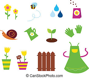 ikony, &, ogród, wiosna, natura