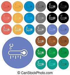 ikony, okrągły, płaski, temperatura, termometr, przeziębienie, celsjusz, barwny, multi