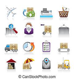 ikony, okrętowy, logistyka, ładunek