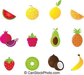 ikony, owoc, odizolowany, komplet, soczysty, biały